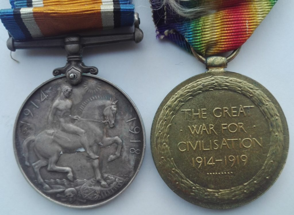 Reverse of medal pair, Sterling Silver British war medal and victory