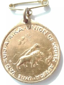 Reverse of South african George 6th coronation medal