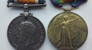 UK WW1 BWM Victory medal pair mounted on bar Obverse