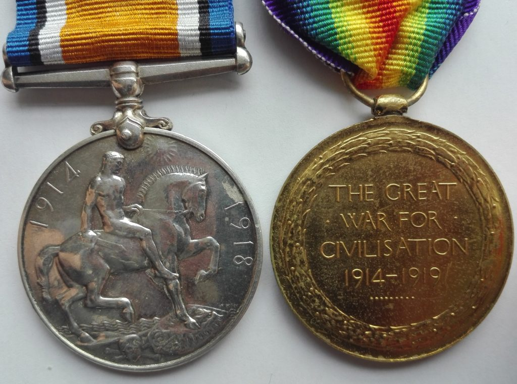 Reverse of British pair of world war one medals. BWM & Victory pair.