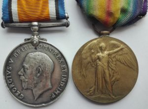 Pair of british first world war medals. Silver British war medal and brass victory medal