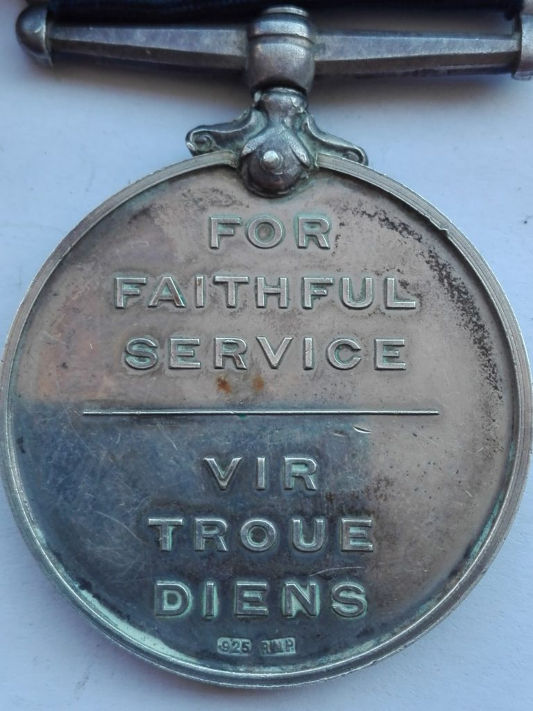 South Africa Police Faithful Service medal Reverse