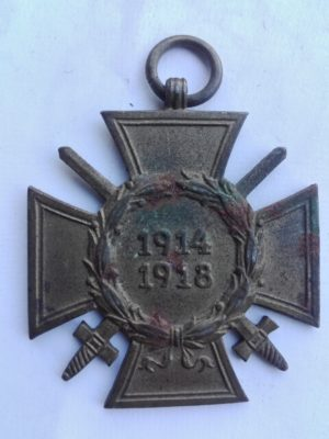 First world war German medal for War service with swords. Maker makarked on back to AD. B. L.