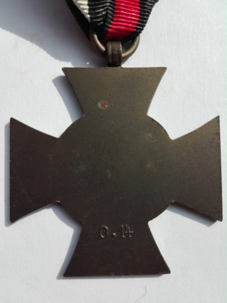 Hindenberg cross without swords from WW1 Germany manufacturer O.14 Reverse